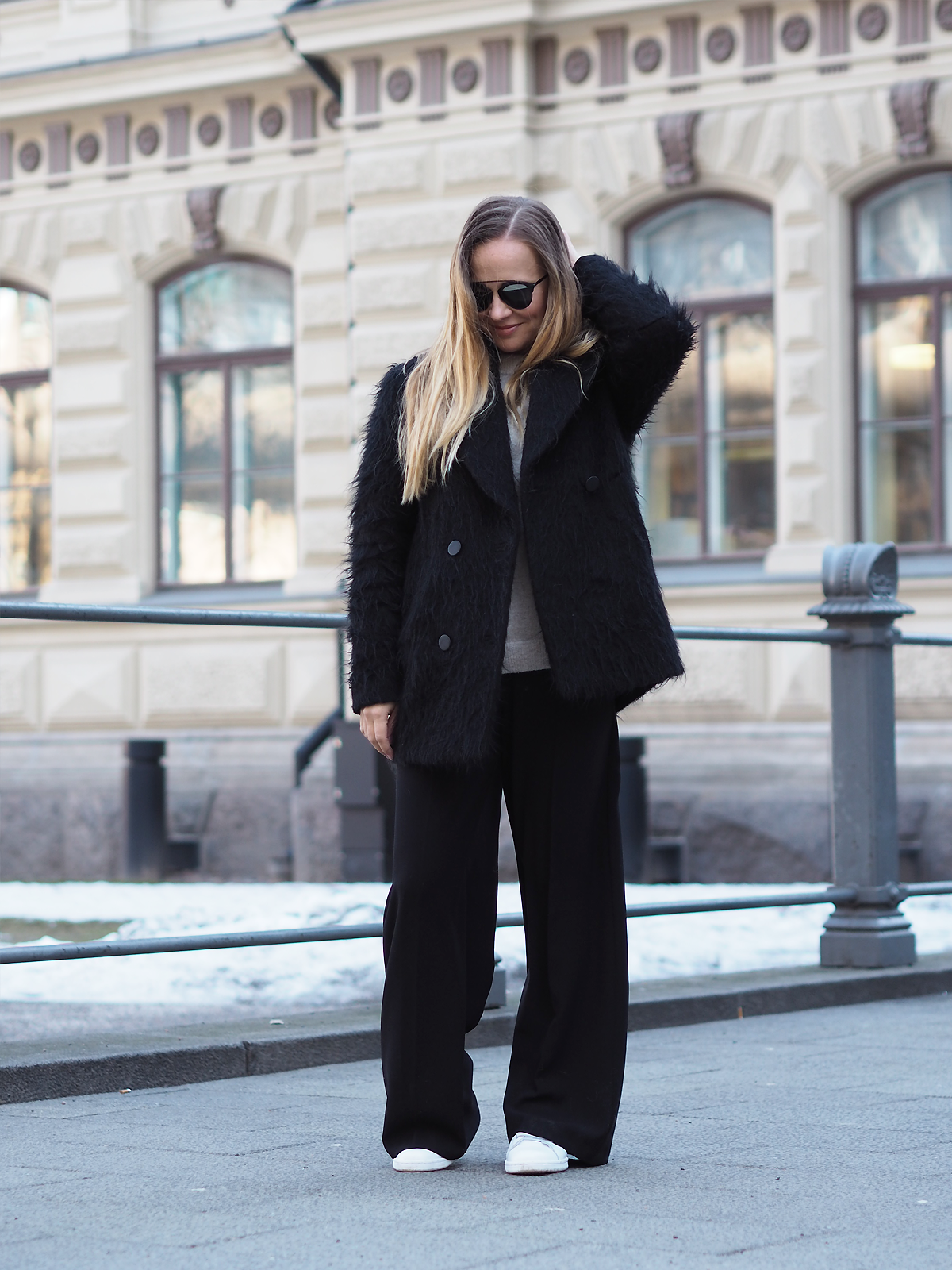 Coat  Tiger of Sweden /  pants  Part Two /  knit  Filippa K /  sneakers  Adidas /  sunnies  Dior