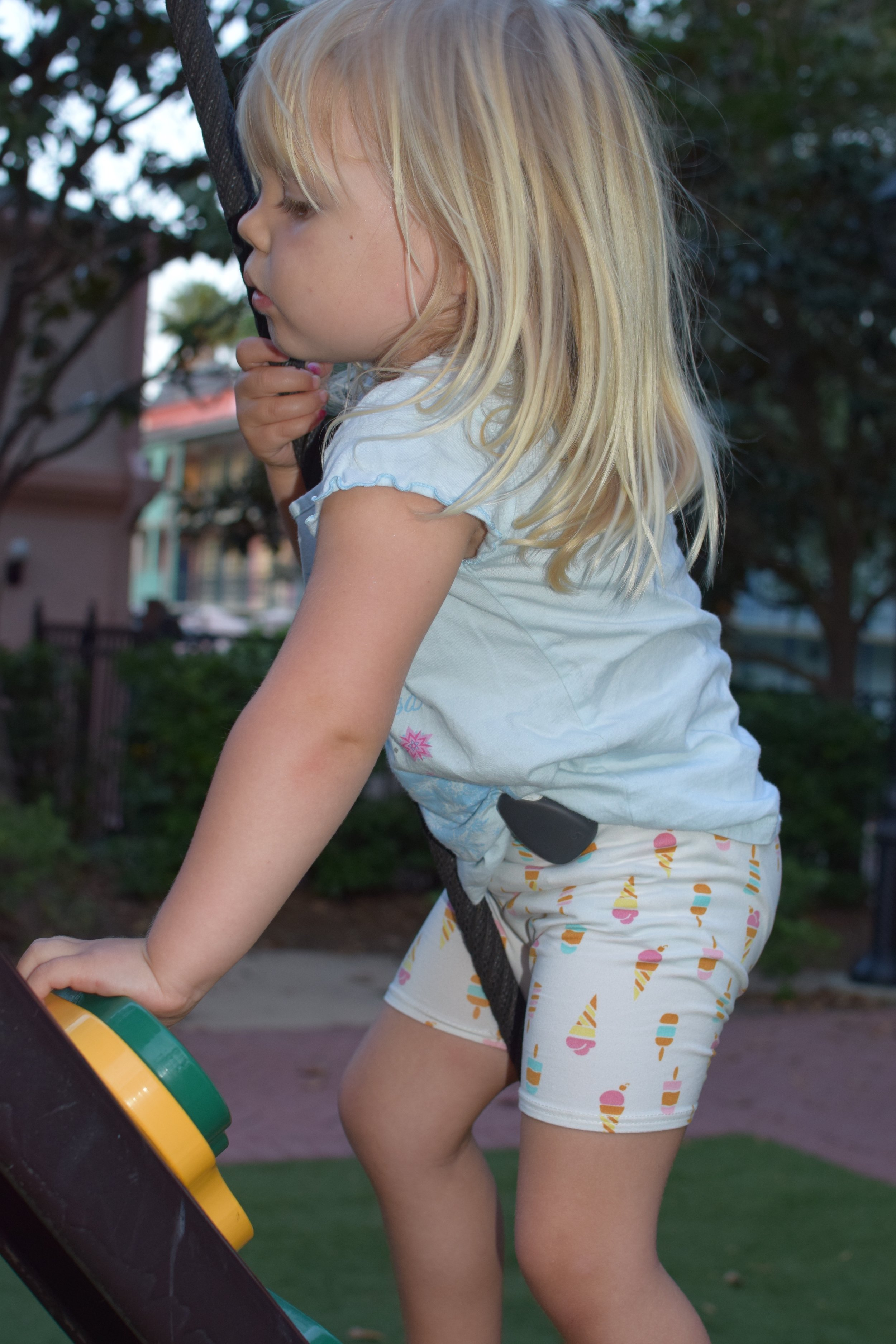 Isla (3) showing off her Jiobit