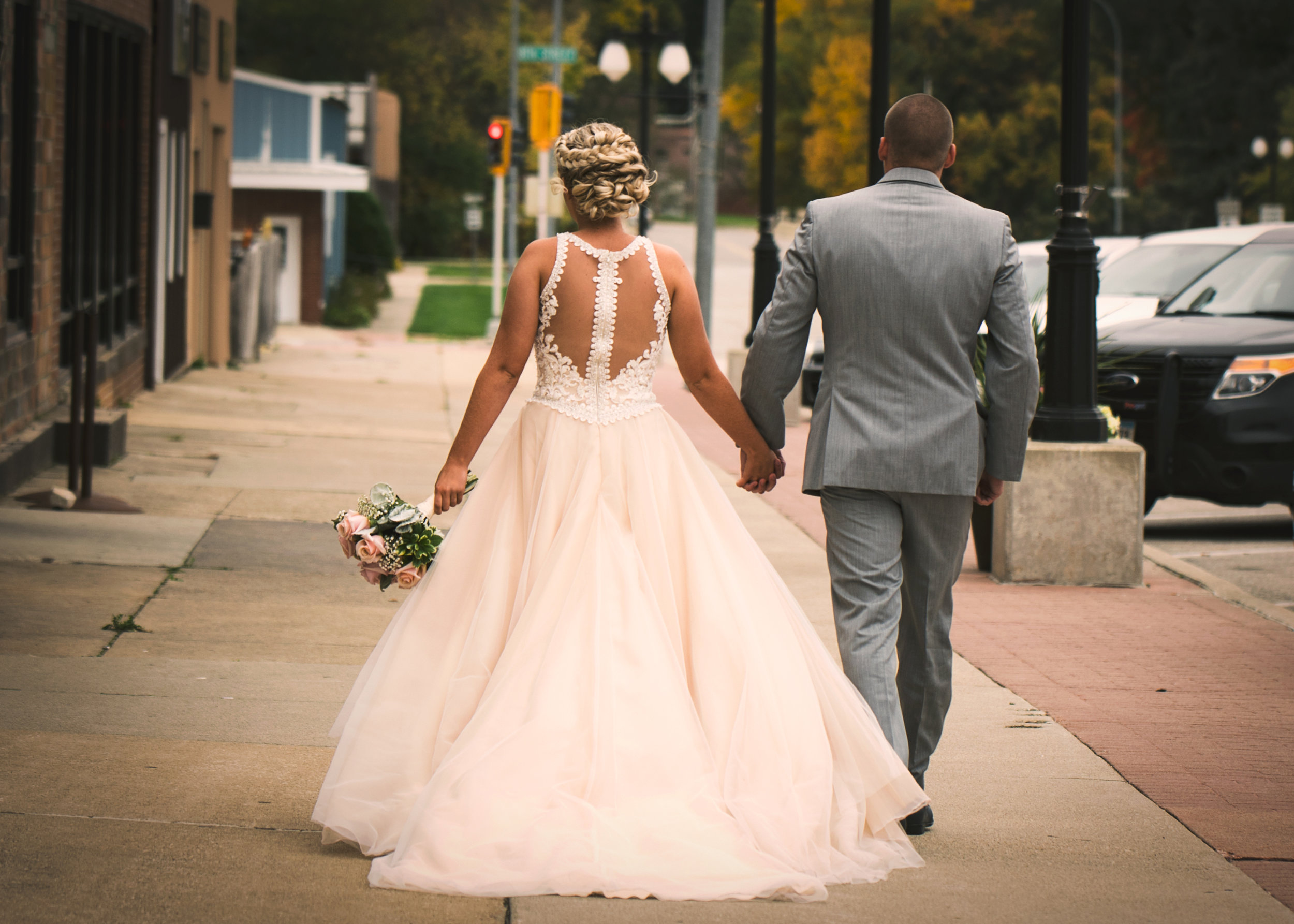Downtown Humboldt Wedding, Bride and Groom