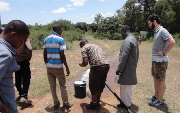 Test of borehole water yield
