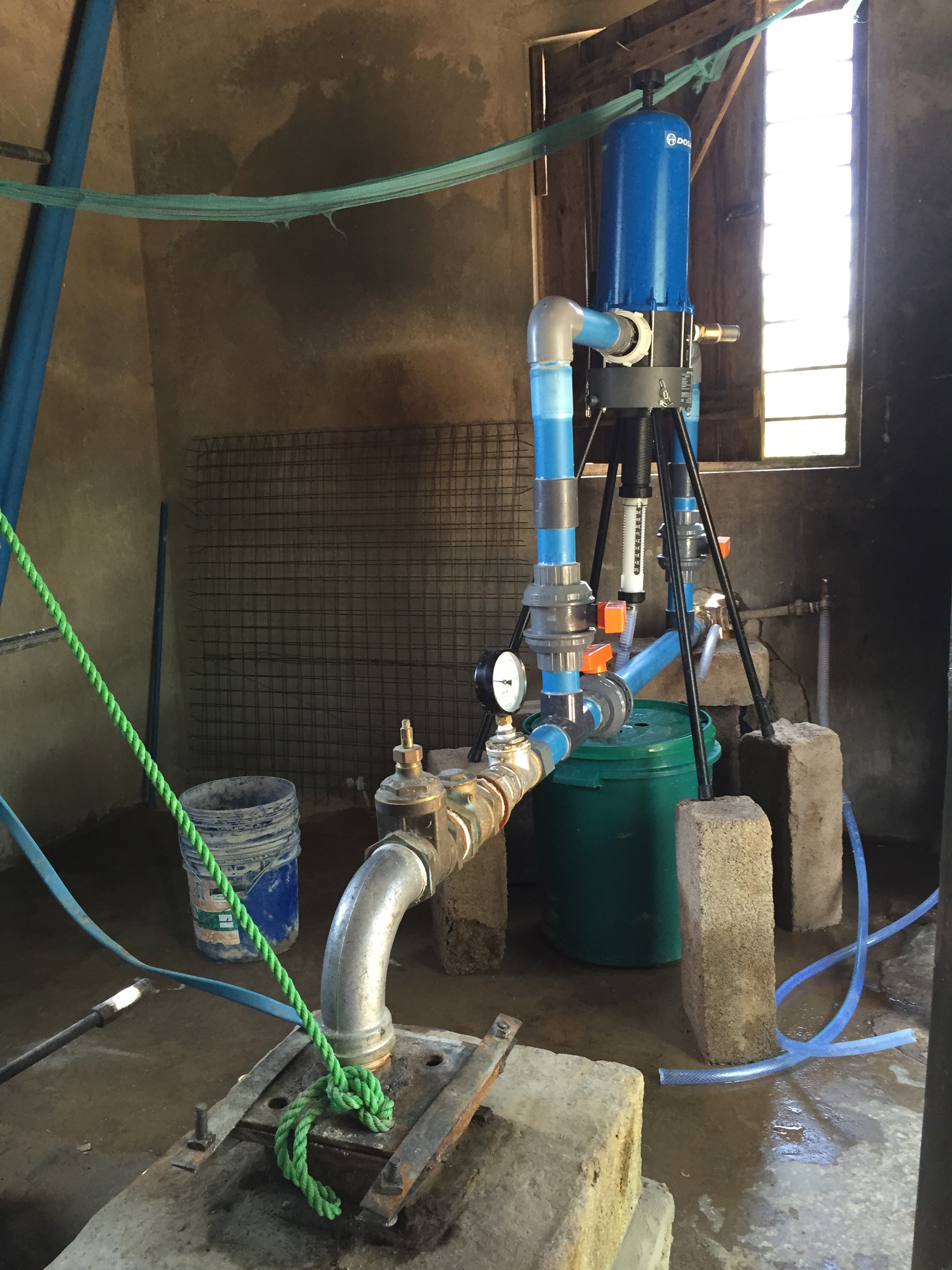 The dosatron adds chlorine to disinfect the water