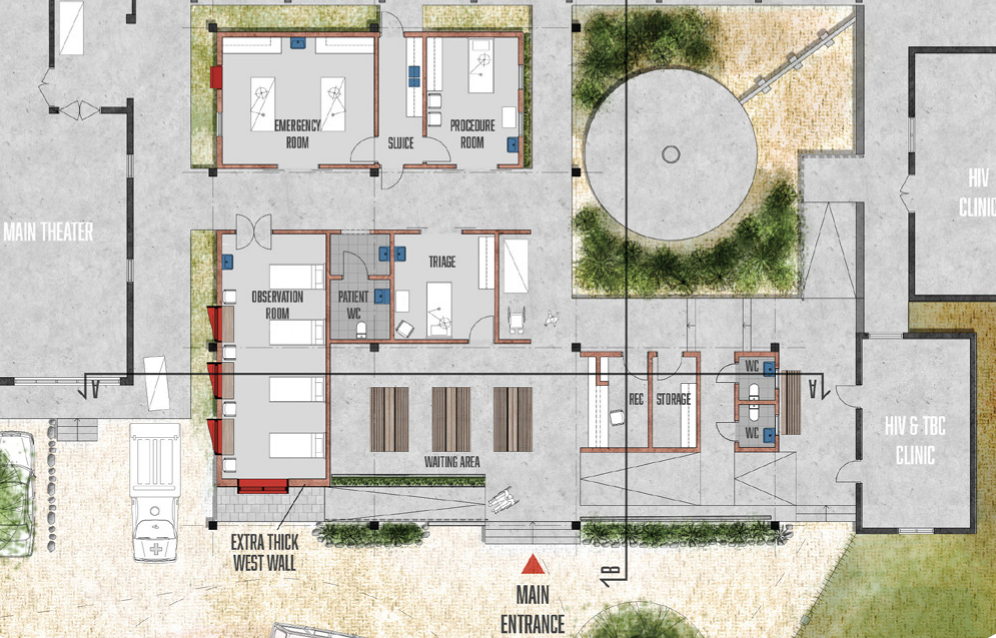 The plan of the proposed emergency department