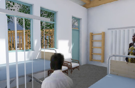 A rendered view from a patient room in the proposal
