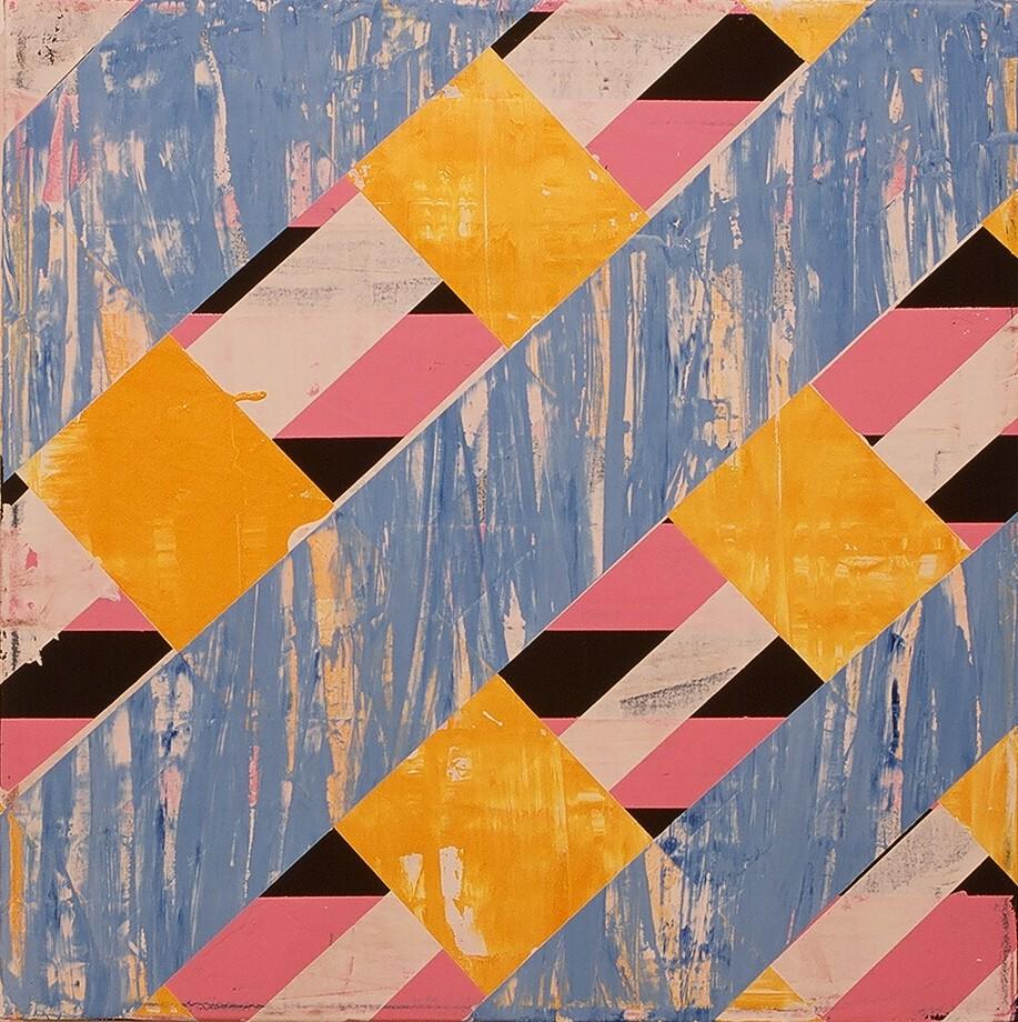 """Bridge Work II, 2003 (enamel on canvas) 22"""" x 22"""""""