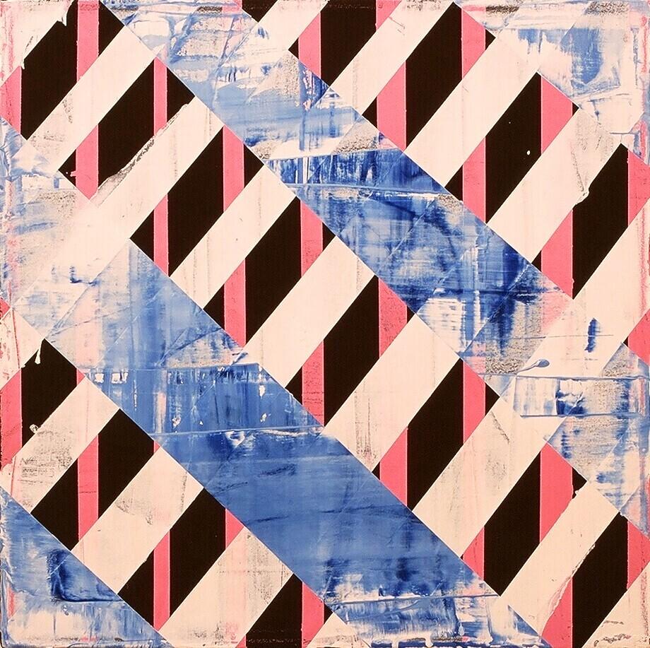 """Bridge Work III, 2003 (enamel on canvas) 22"""" x 22"""""""