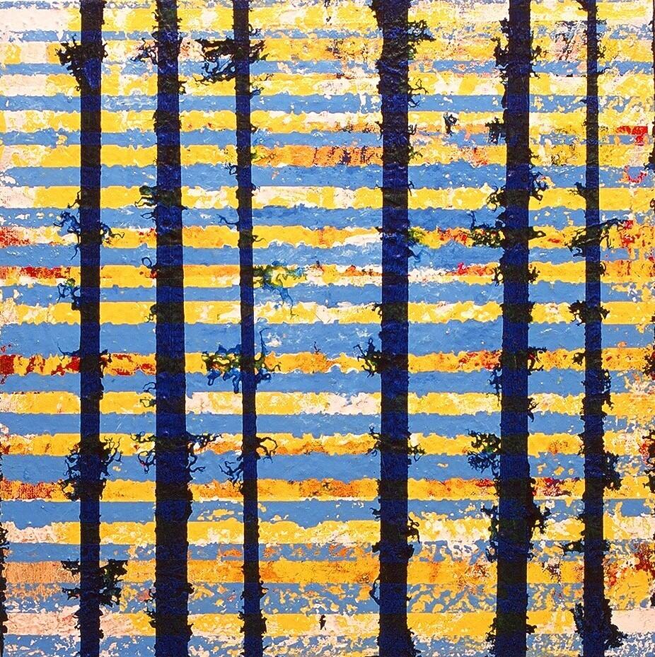 """Tendrils, 2002 (enamel on canvas) 22"""" x 22"""""""