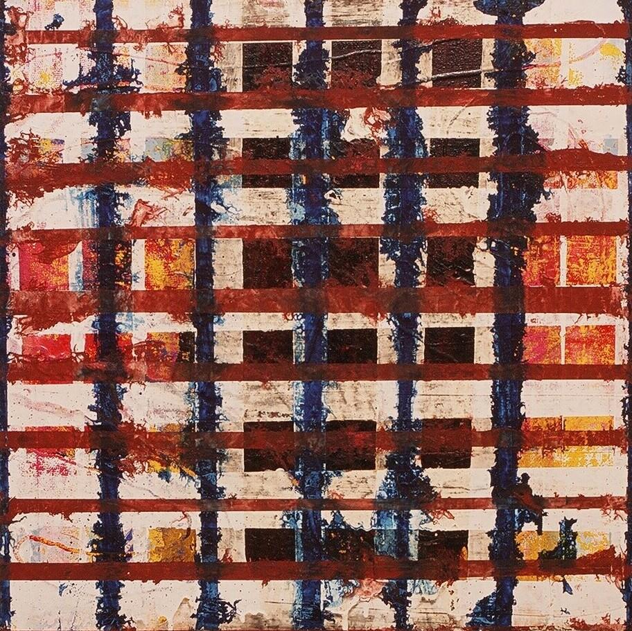 "Windows, 2002 (enamel on canvas) 24"" x 24"""