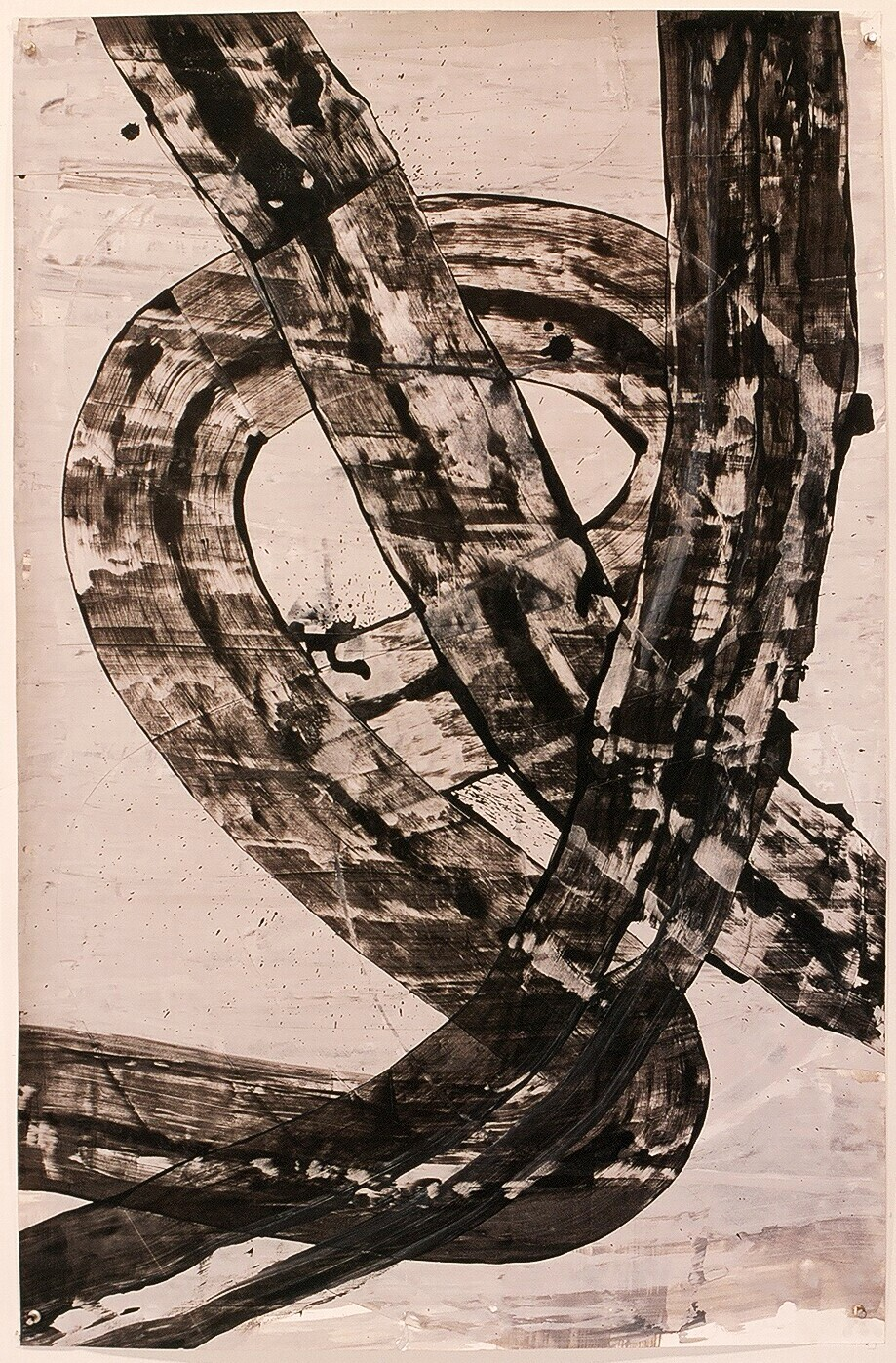 "Works on Paper 20, 2000 (india ink and gesso on paper) 40"" x 26"""