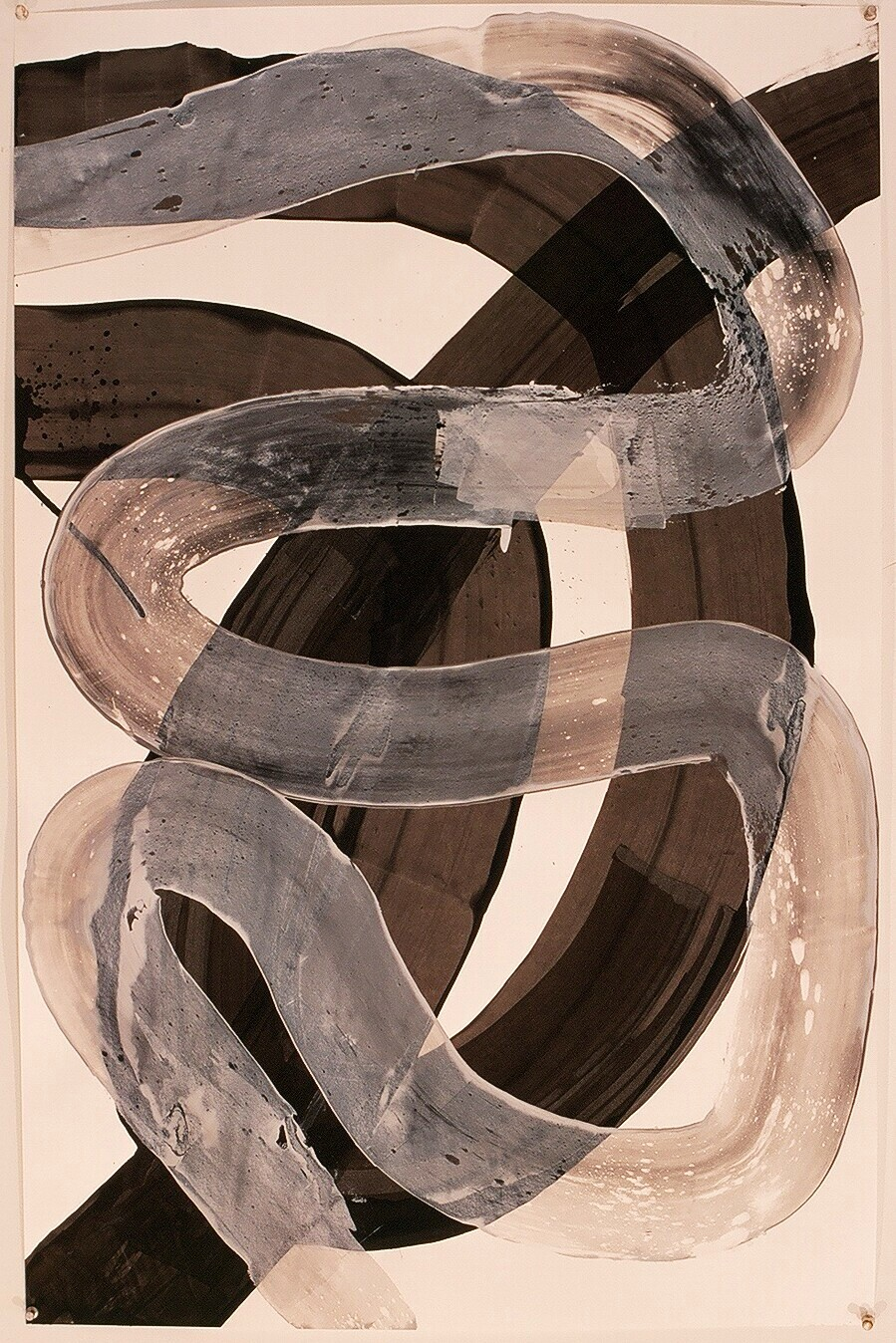 "Works on Paper 23, 2000(india ink and gesso on paper) 40"" x 26"""