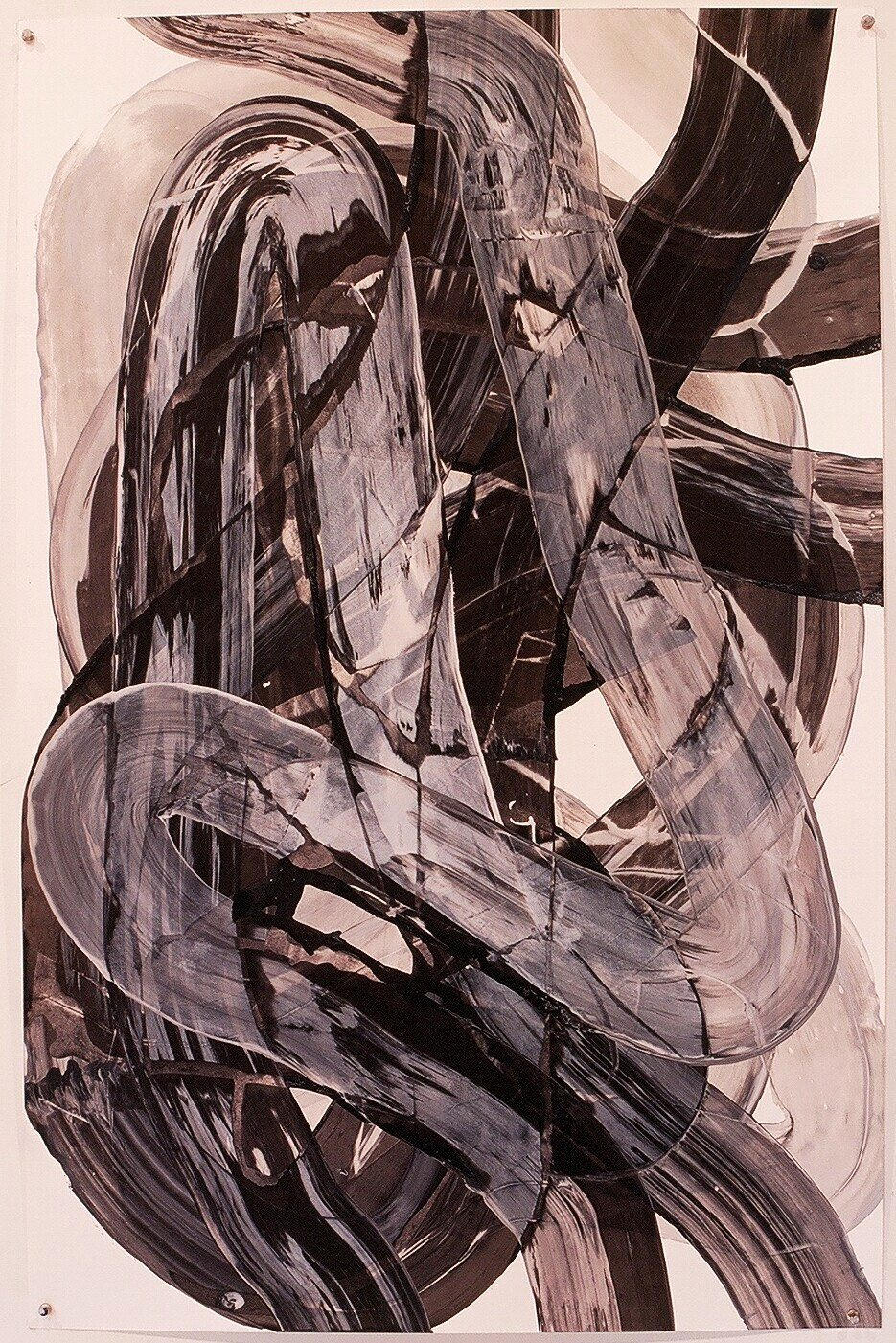 "Works on Paper 27, 2000 (india ink and gesso on paper) 40"" x 26"""