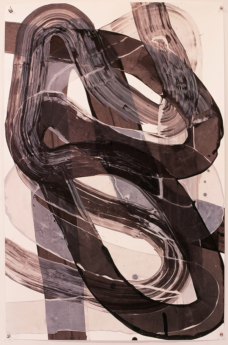 "Works on Paper 28, 2000 (india ink and gesso on paper) 40"" x 26"""