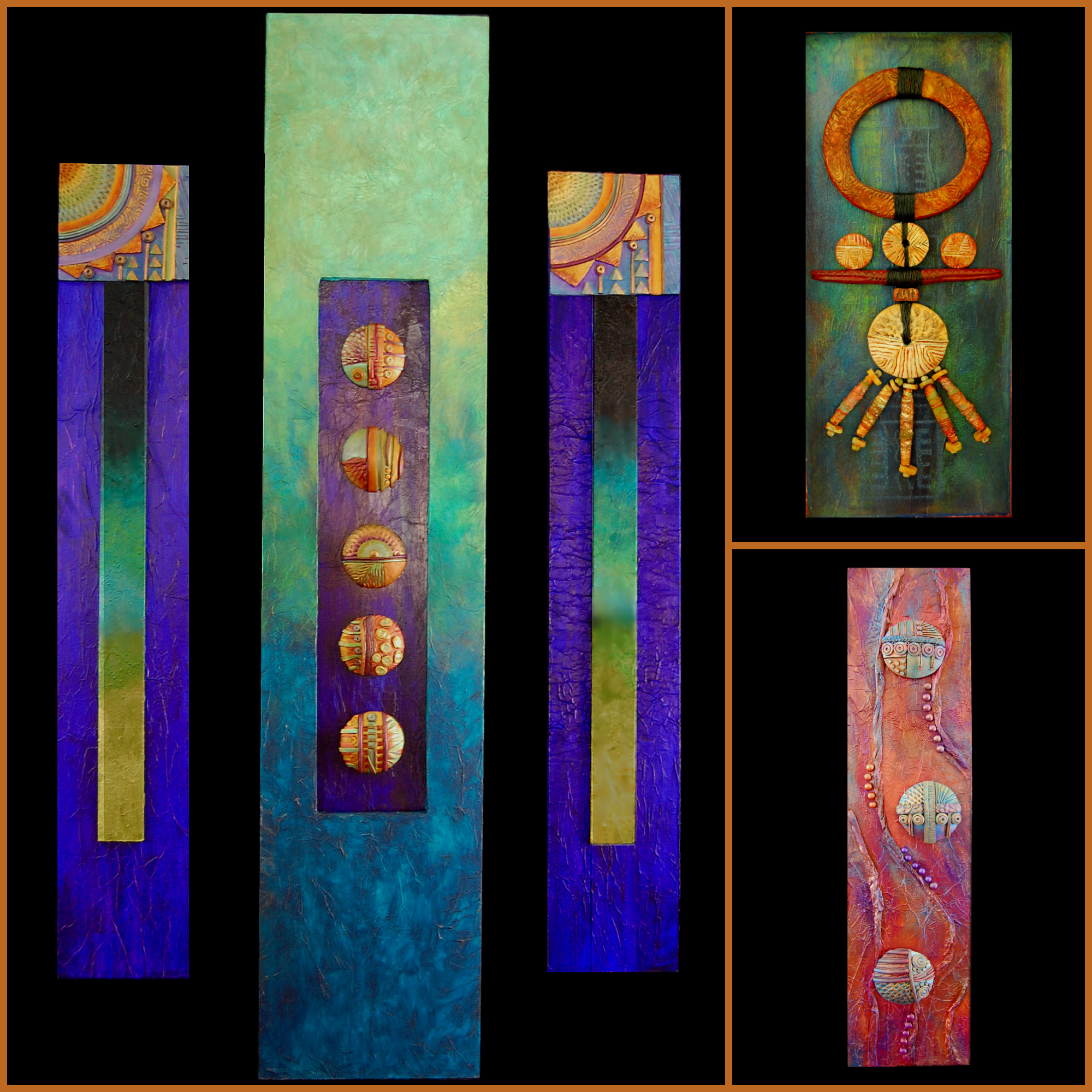 """Some of the pieces which have elicited the """"I LOVE your colors comment""""."""