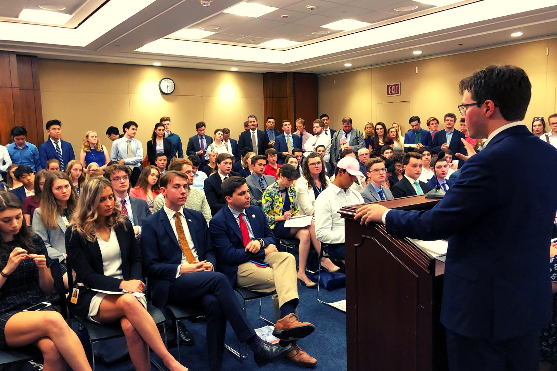 S4CD's President Alex Posner addressing the crowd.