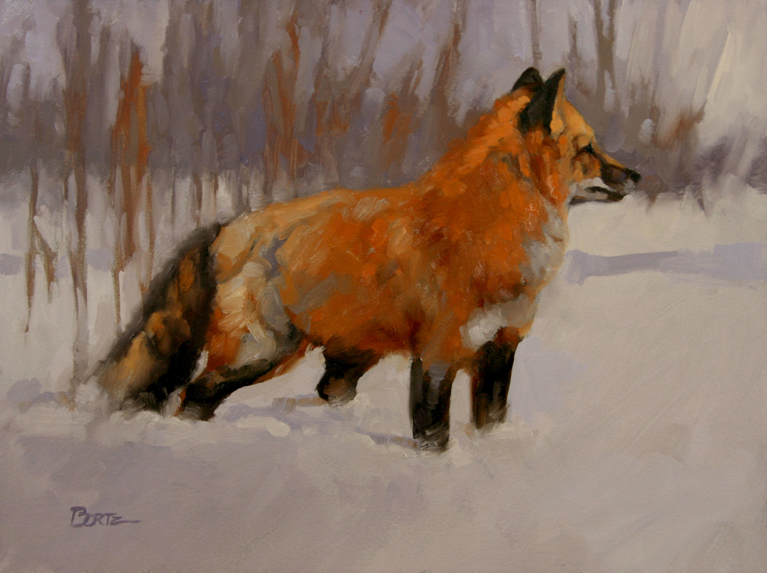 """Red's Winter Coat"" 6x8 oil  private collection"