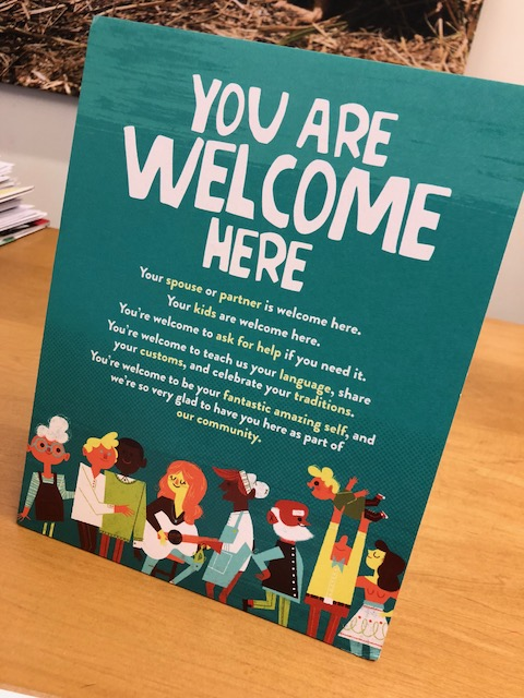 Sign at front desk of New Seasons Market HQ