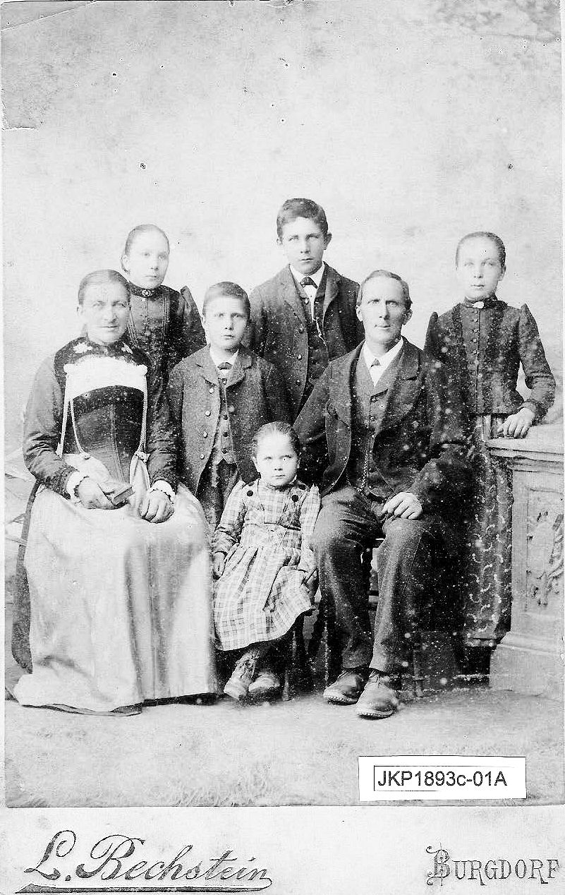 John Kunz, Sr. and Family after John (left) had immigrated to America.ca. 1893 -