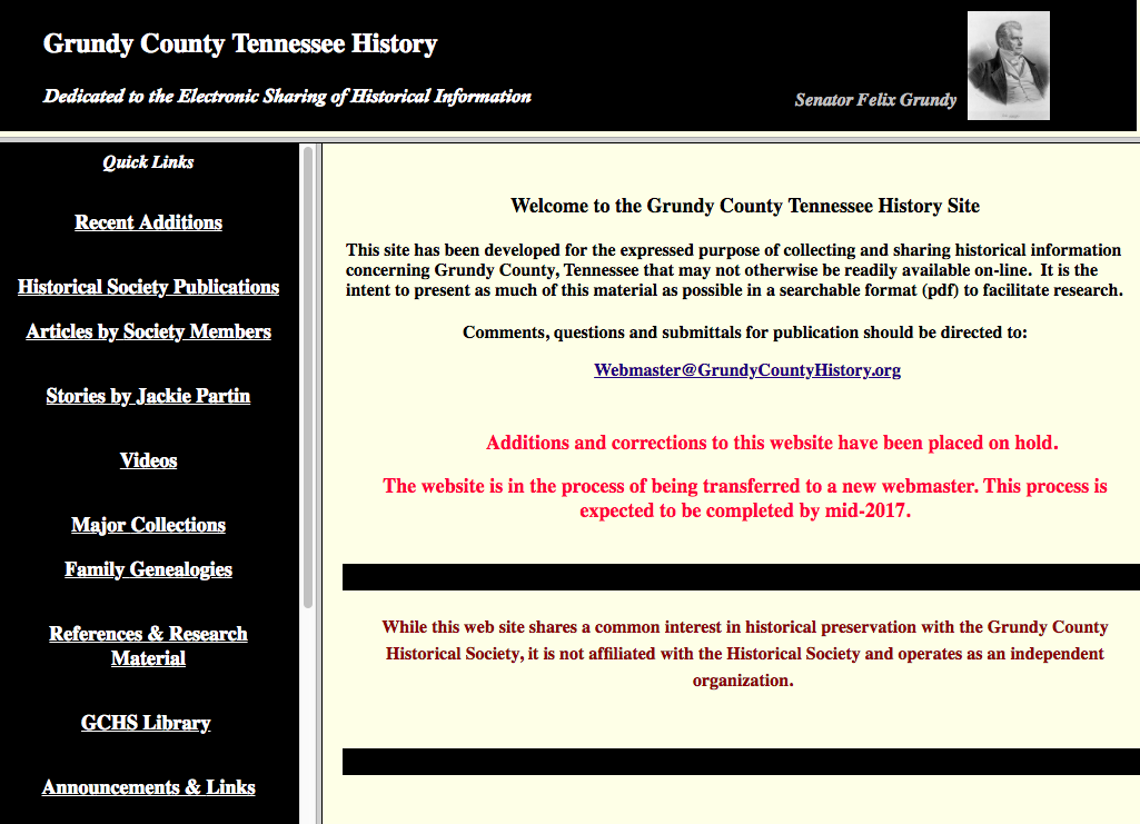 the original look and feel of grundycountyhistory,org