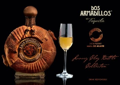 """DOS ARMADILLOS TEQUILA   Double Distillation, Made with mature agaves that are more than 8 yeas of age, from the High Mountain Region of Mazamitla Jalisco    Bottle: Handcrafted crystal bottle with an obsidian center, bronze metal labels and bronzed metal cap. With henequen agave-styled neck. """"Luxury Edition"""".    Color: Dark amber color with golden hues and a bright aura.    Aroma: Incredible scents of herbs and mint. The aromas from the American oak barrels are well balanced delivering a dry, fruity aroma excellent for the palate.    Body: Full body from the 36 months of aging in oak barrels.    Taste: Very smooth to the palate. The aromas are presented in the taste and it has a very smooth ending"""