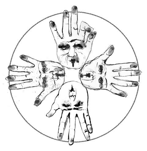 Mudra HandsIndia ink with pen and brush