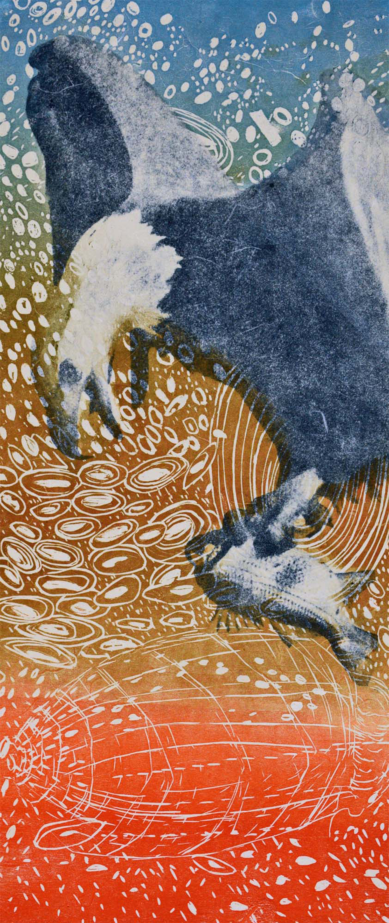 Eagle, 10 ¼ x 23 ¾ inches, Woodcut, Paper Lithography, Screenprint, Color Pencil, Japanese paper
