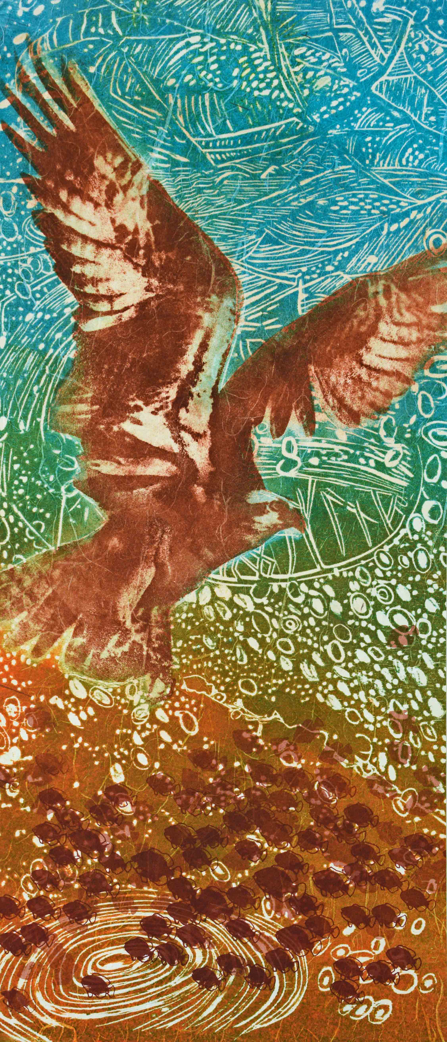Osprey, 10 ¼ x 23 ¾ inches, Woodcut, Paper Lithography, Screenprint, Color Pencil, Japanese paper, 2018