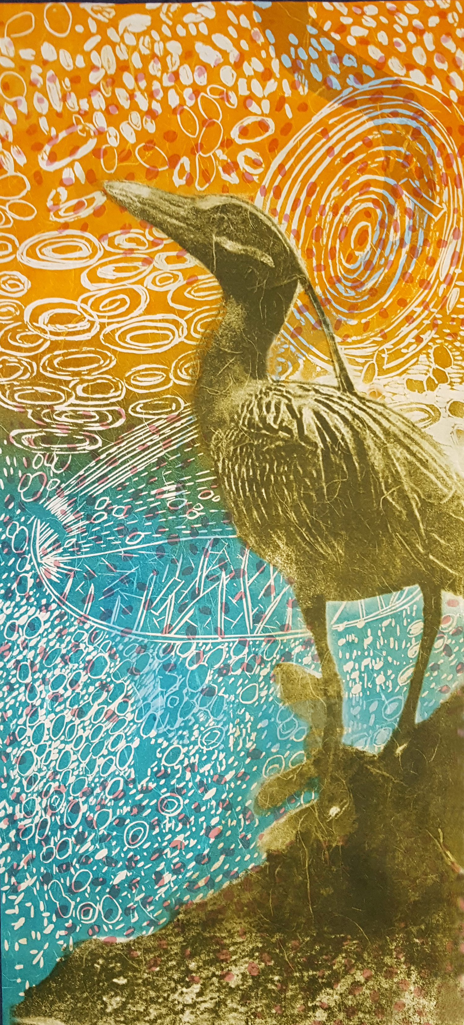 Crested Night Heron, 10 ¼ x 23 ¾ inches, Woodcut, Paper Lithography, Screenprint, Color Pencil, Japanese paper, 2017