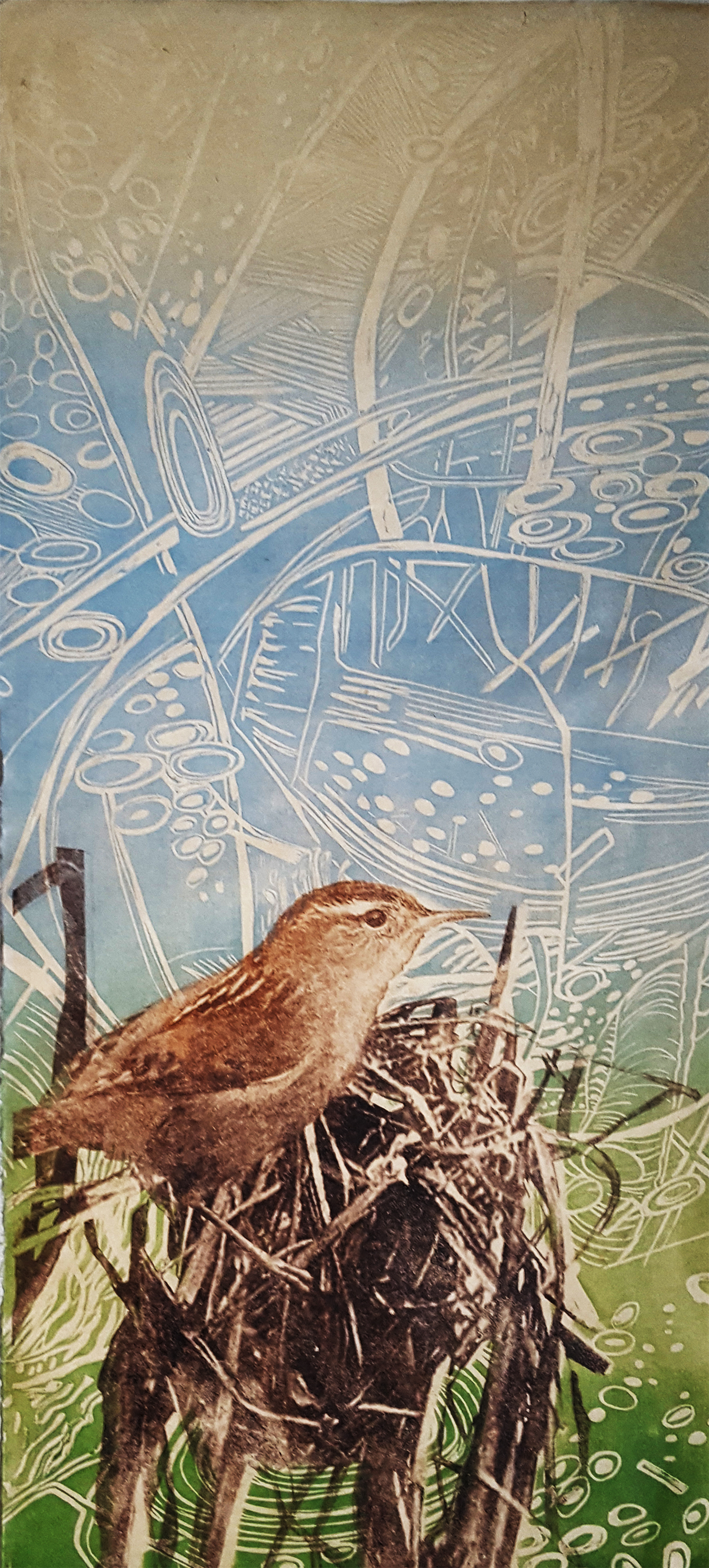 Marsh Wren, 10 ¼ x 23 ¾ inches, Woodcut, Paper Lithography, Screenprint, Archival Inkjet, Japanese paper, 2018