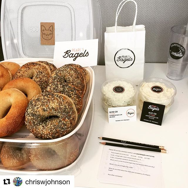 Office taste testing continues!  Repost @chriswjohnson ・・・ real #bagels coming soon to DC! @pearlsbagels 🍾💯🌀 #Jerseyapproved #everythingbagel #bagelsandwich #chiveandonion #shawdc #14thstreet #NYCapproved