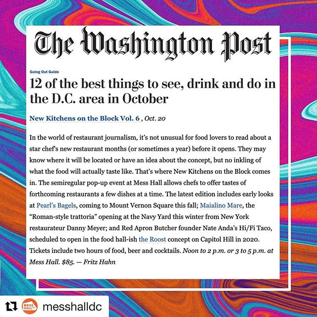Honored to be participating in @messhalldc's New Kitchens on the Block, and special thanks to @washingtonpost for the shout out! Come get some bagels (and beers) on Sunday, October 20th! Link for tickets in bio.  #nkotb_dc