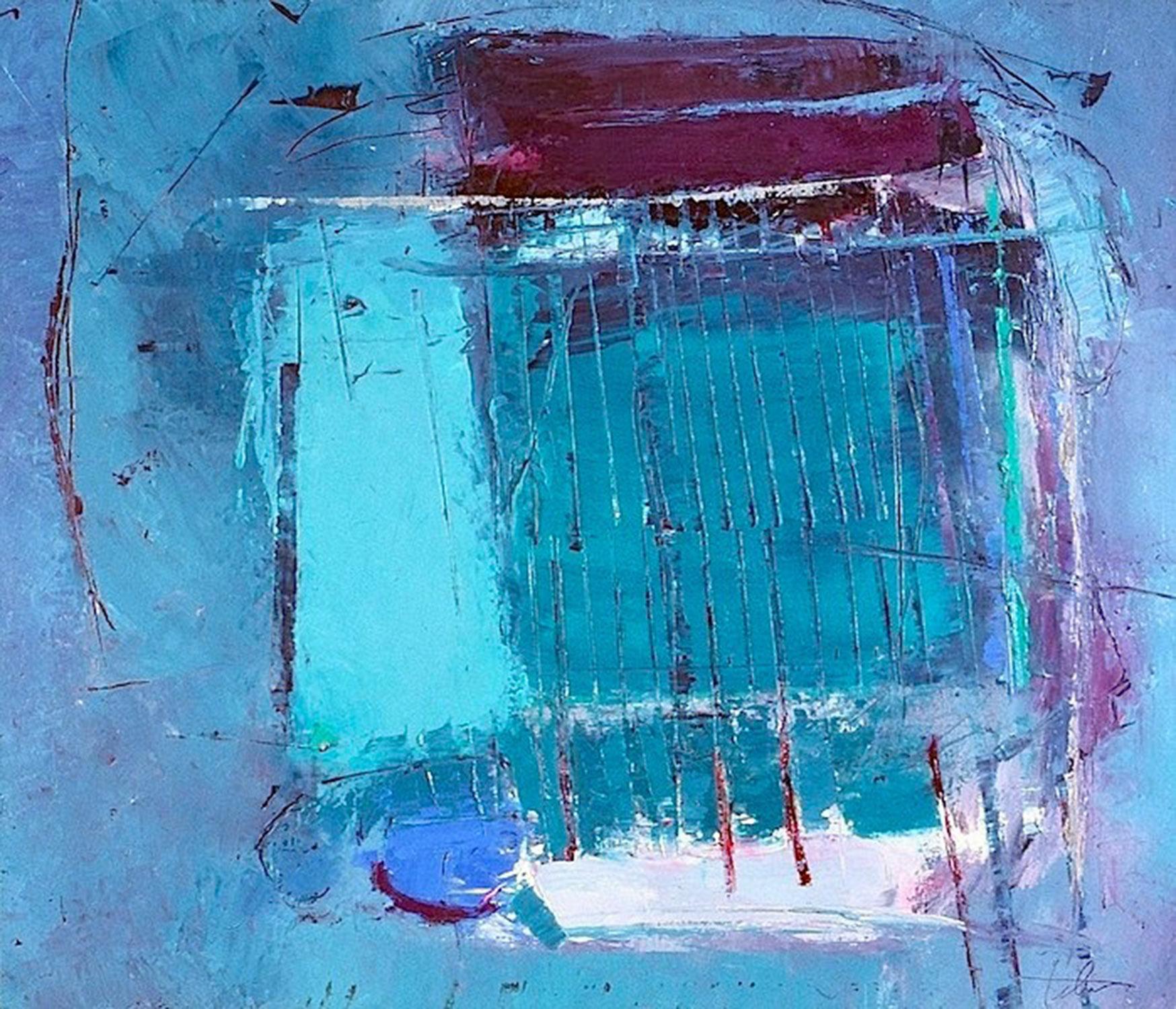 "Aqua & Blue • Oil on canvas • 31 x 36"""