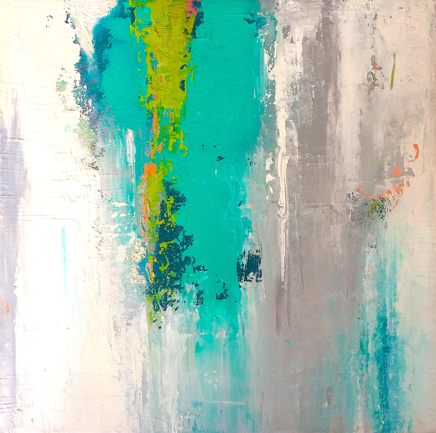 "Aquafall • Oil on canvas • 12 x 12"""
