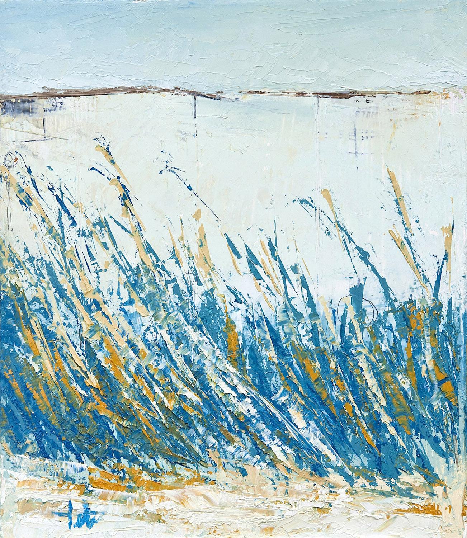 """Beach Grass I • Oil on wood • 12.5 x 10"""""""