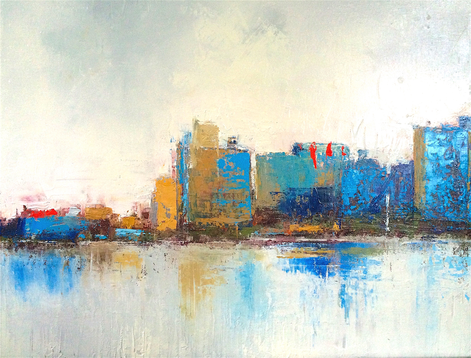 """Skyline in Blue • Oil on canvas • 16 x 19"""""""