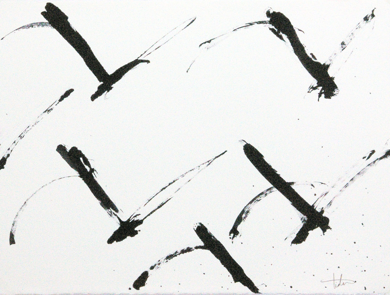 "Flight 3 • Black ink on paper • 24 x 30"""