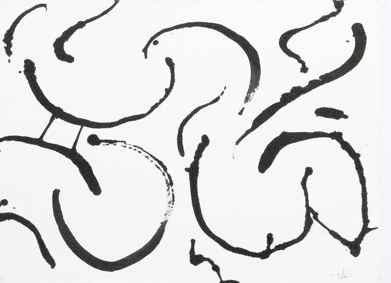 "Flight 4 • Black ink on paper • 24 x 30"""