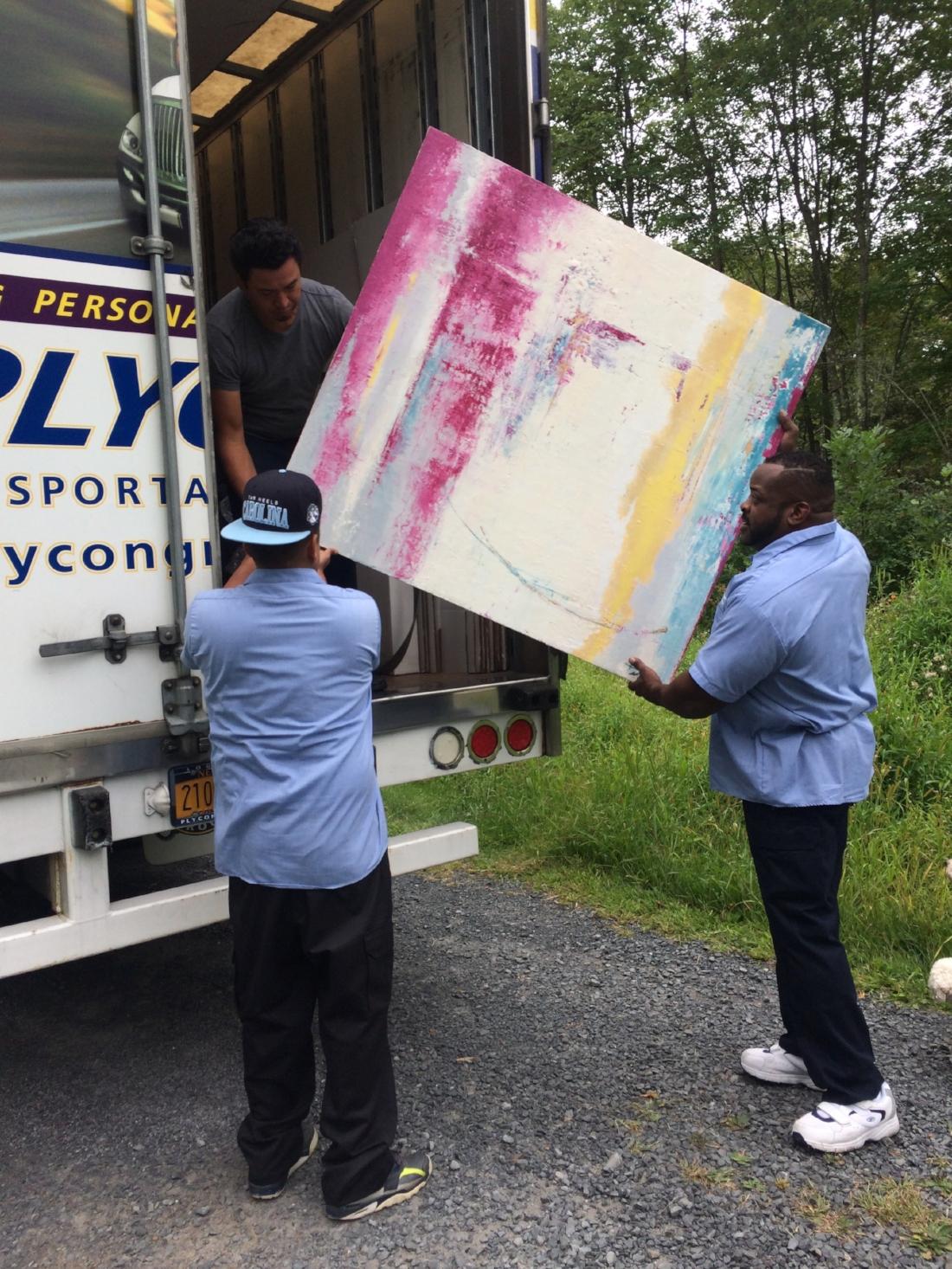 Lisa's painting loading on truck 2.jpg