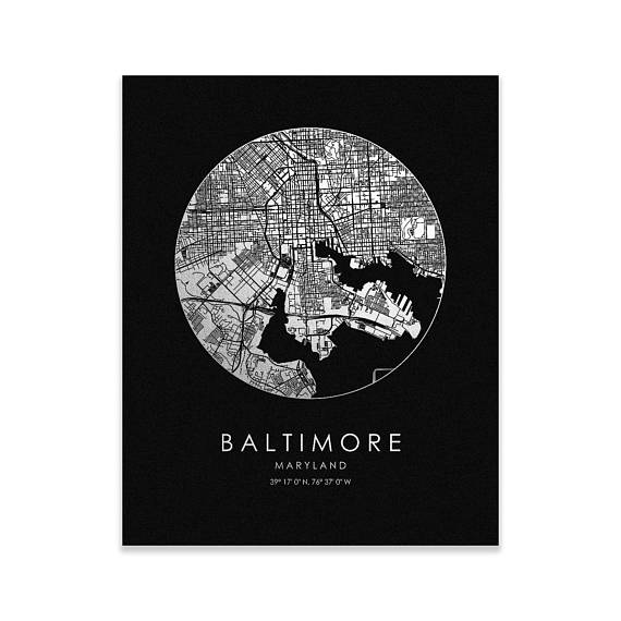 Copy of Baltimore City Map Gold Foil Print, Silver on Black, 8x10