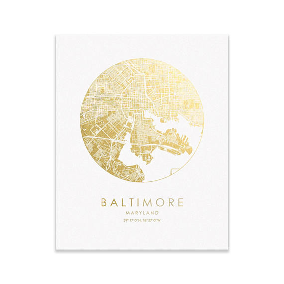 Baltimore City Gold on White Print