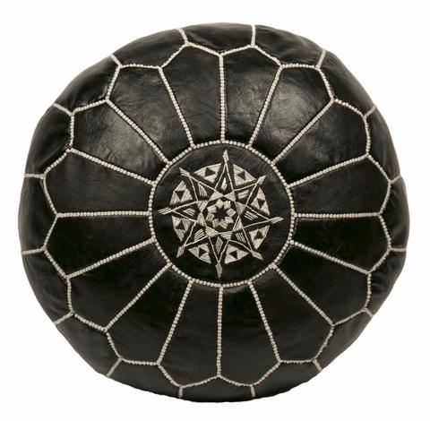 #6: Embroidered Leather Pouf - This authentic Moroccan hand-made pouf is made from genuine leather and embroidered by hand. This pouf is so practical it can be used as a foot stool, or as a low seat when working on projects around the house.