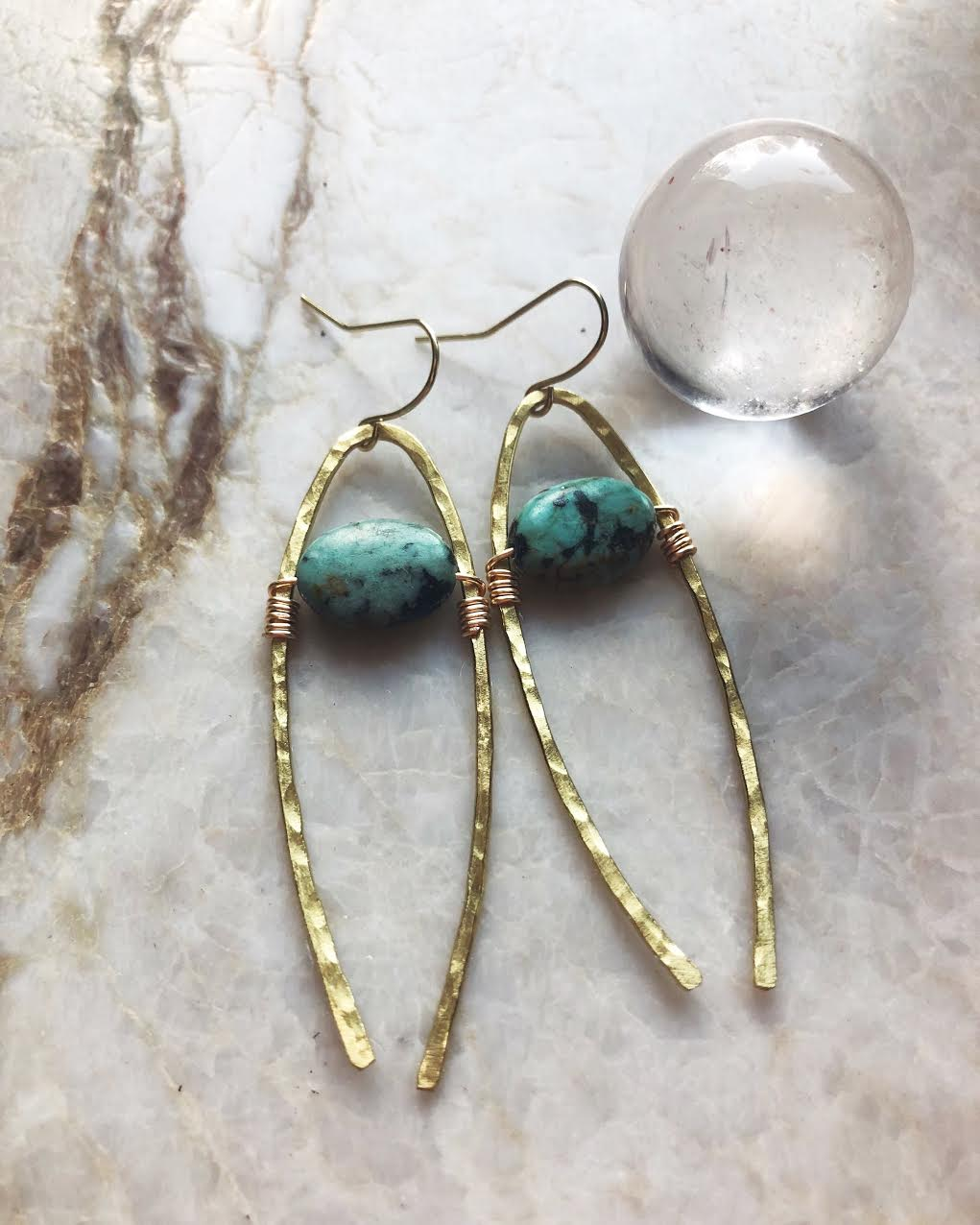 Hand Made Wild Sol Jewelry - Forged and hammered gold plated brass. These earrings are great for everyday wear, but also make a statement in of themselves.
