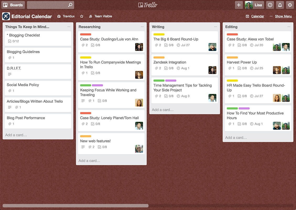 "Trello's overview using kanban-type ""lists"""