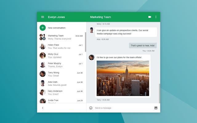 Google Hangouts' Chat view