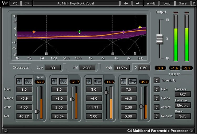 Waves' (paid) multiband C4 compressor allows for more advanced effects at certain frequency ranges