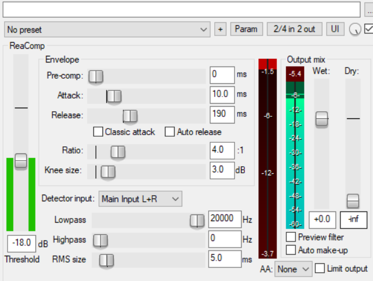 Notice the red bar fills downwards, representing how much the sound is being compressed by (in dB)