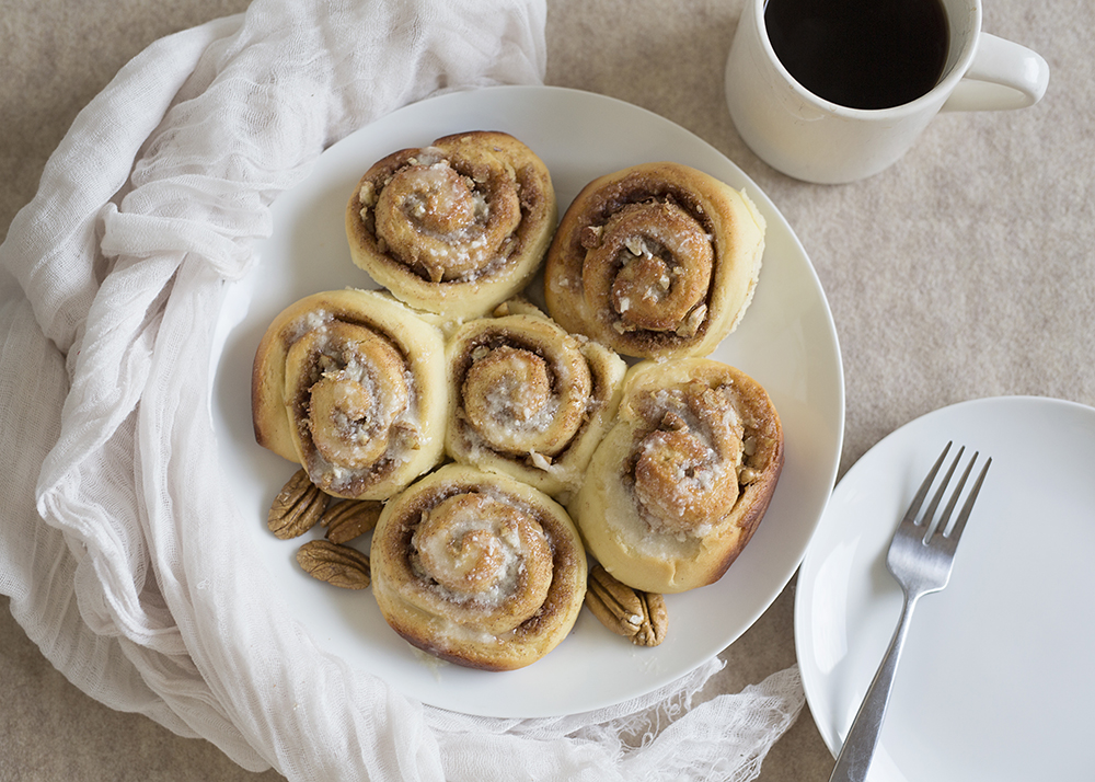Pecan Cinnamon Rolls with Maple Icing