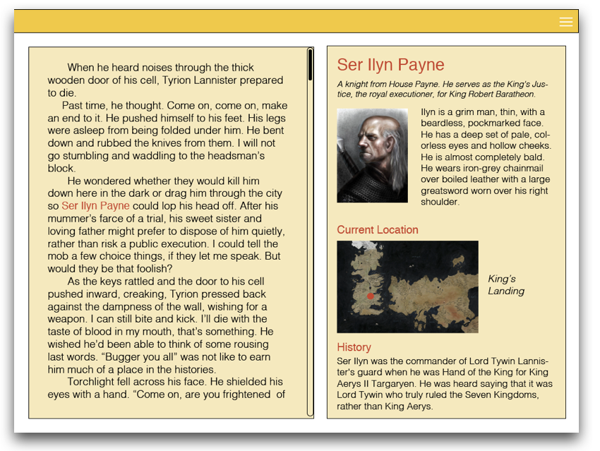 Analytical Mode: where readers can explore a characters entire story arc