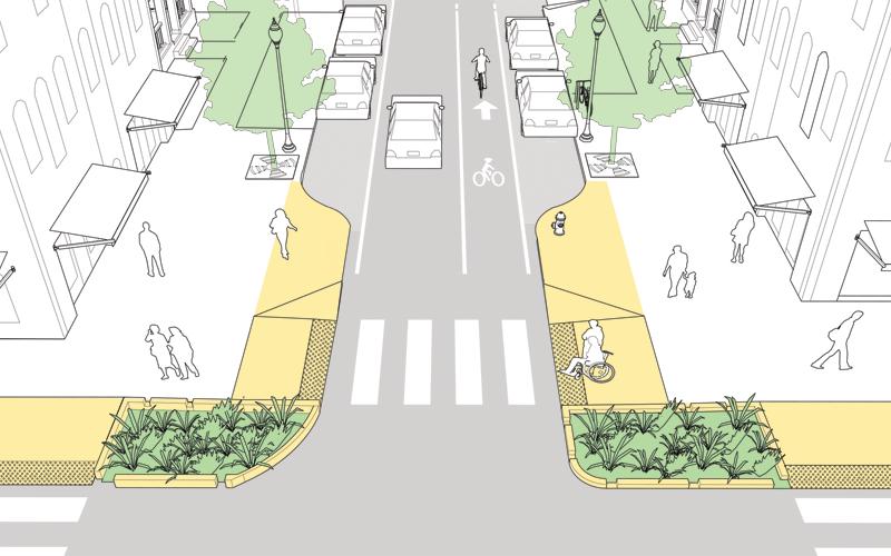 Curb extensions shorten crossing distances ( Photo: NACTO )
