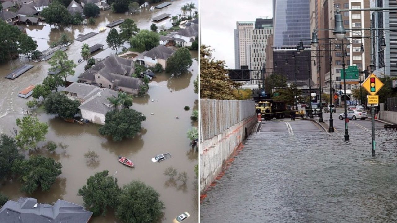 Flooding in Houston from Hurricane Harvey on the left and from Superstorm Sandy in New York City on the right ( Photo: AMNY )