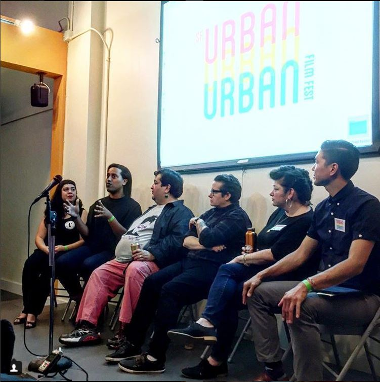 """Panel of Queer """"Pioneers"""" discuss displacement, community, economic resiliency, and survival of LGBTQ+ businesses.  Photo credit: SF Urban Film Fest."""