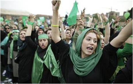 """Jombeshe sabz"" or the green movement, Tehran 2009. (NBCnews.com )"